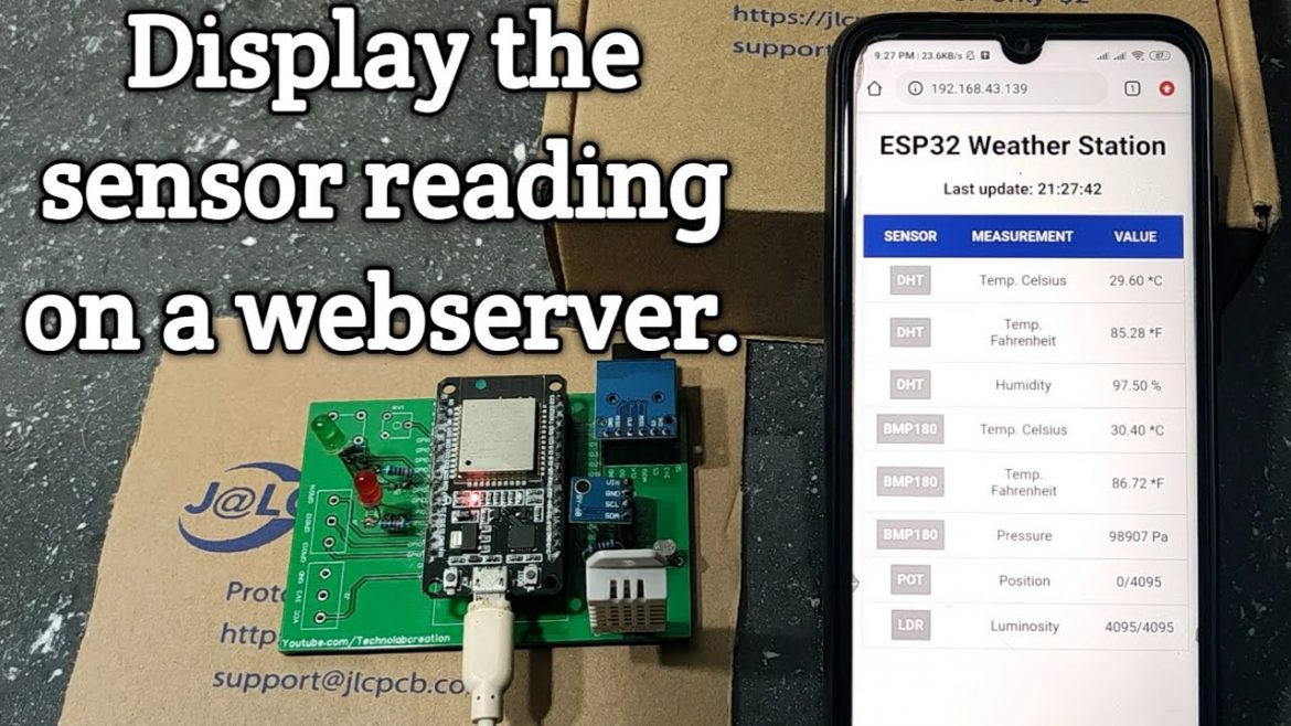 ESP32 weather station ,display the sensor readings on a web server.