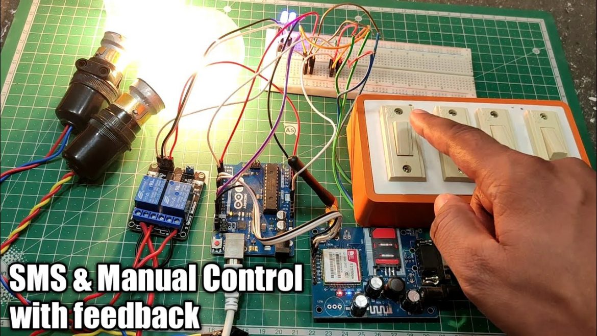 SMS and Manual Control HomeAutomation System with feedback using GSM Module & Arduino uno
