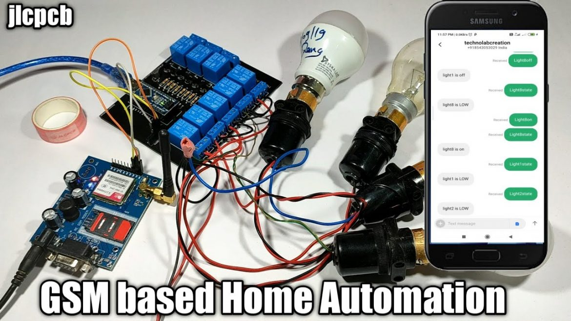 8 Channel Home Automation using GSM Module SIM 900A