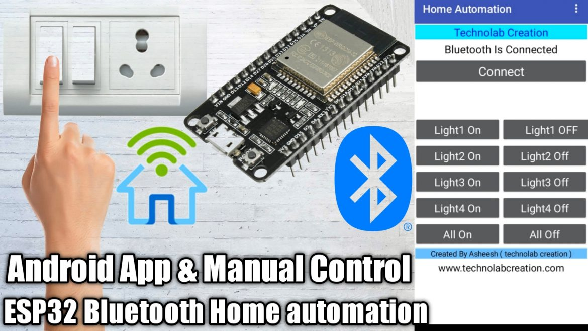ESP32 Bluetooth HomeAutomation  Using Android App and Manual Switches.