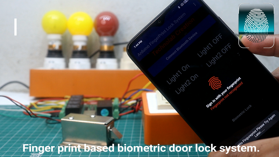 Biometric fingerprint door lock control system + Homeautomation with feedback using android app.